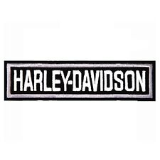 Small Rectangle Harley Davidson - Black and White - Embroidered Biker Patch