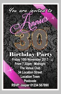 Image Is Loading Personalised Birthday Invitations Party Invites 18th 21st 30th