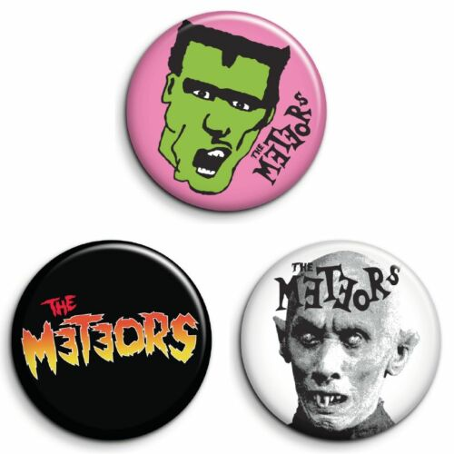 GREAT VALUE PSYCHOBILLY 25mm Badges FREE POST 3 METEORS