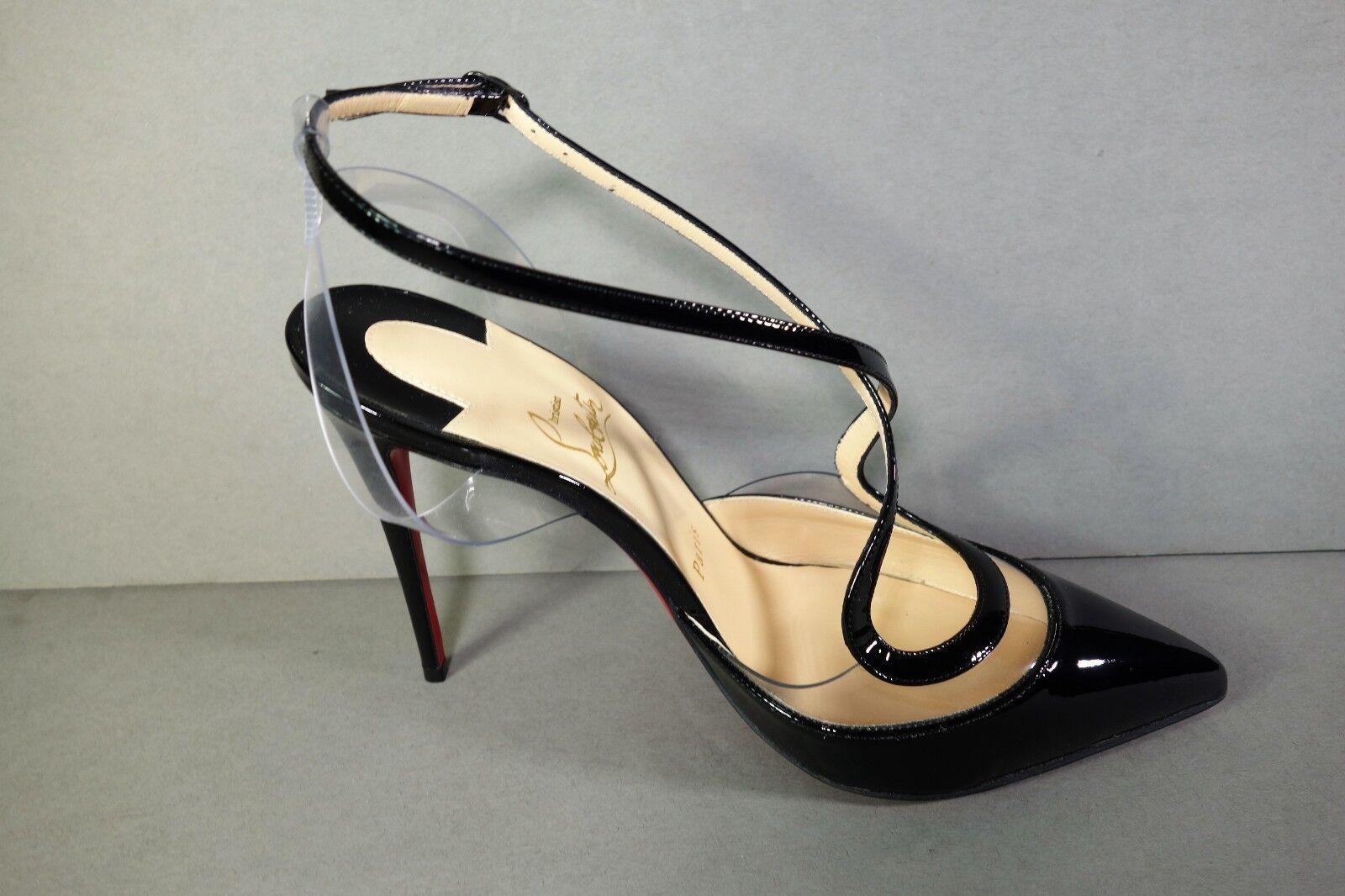 LOUBOUTIN 36 CUPIDETTA 100 Black Patent PVC Point Point Point Toe Pumps shoes Slingbacks NEW 71d165