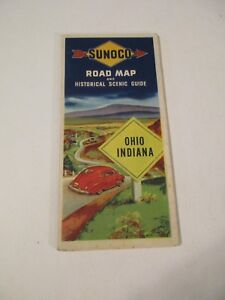 Vintage-Sunoco-Ohio-Indiana-Oil-Gas-Service-Station-Travel-Road-Map