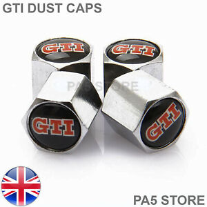 GTI-Chrome-Valve-Dust-Caps-Tyre-Valve-Caps-Universal-Car-Van-BikeTruck-UK