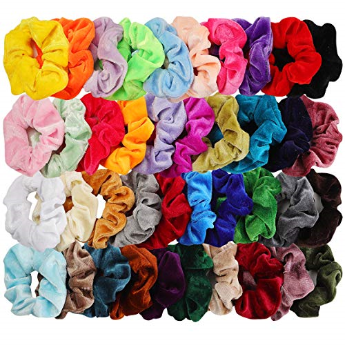 40 Count Personal Hair Scrunchies Satin Elastic Bands Scrunchy Ties Ropes Women