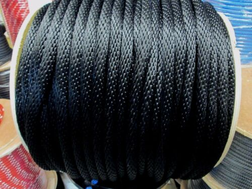 """ANCHOR ROPE DOCK LINE 1//2/"""" X 350/' BRAIDED  BLACK MADE IN USA"""