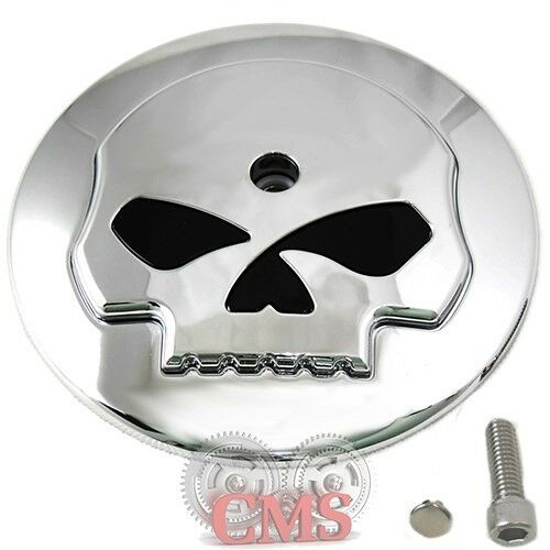 Skull Air Cleaner Cover : Chrome skull air filter cleaner cover insert for harley