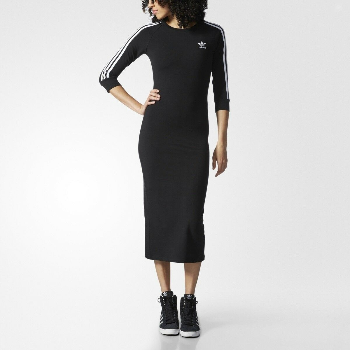 Adidas Originals Womens 3-Stripes Trefoil ruha AY5251 Fit Feszes fekete Noir Ritka