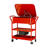 20 Gallon Mobile Part Washer Cart Solvent Pump Electric Shelves Cleaning Casters on sale