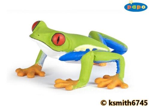 Rouge Papo eyed tree frog solide Jouet en plastique Wild Pond Animal Amphibien * NOUVEAU *