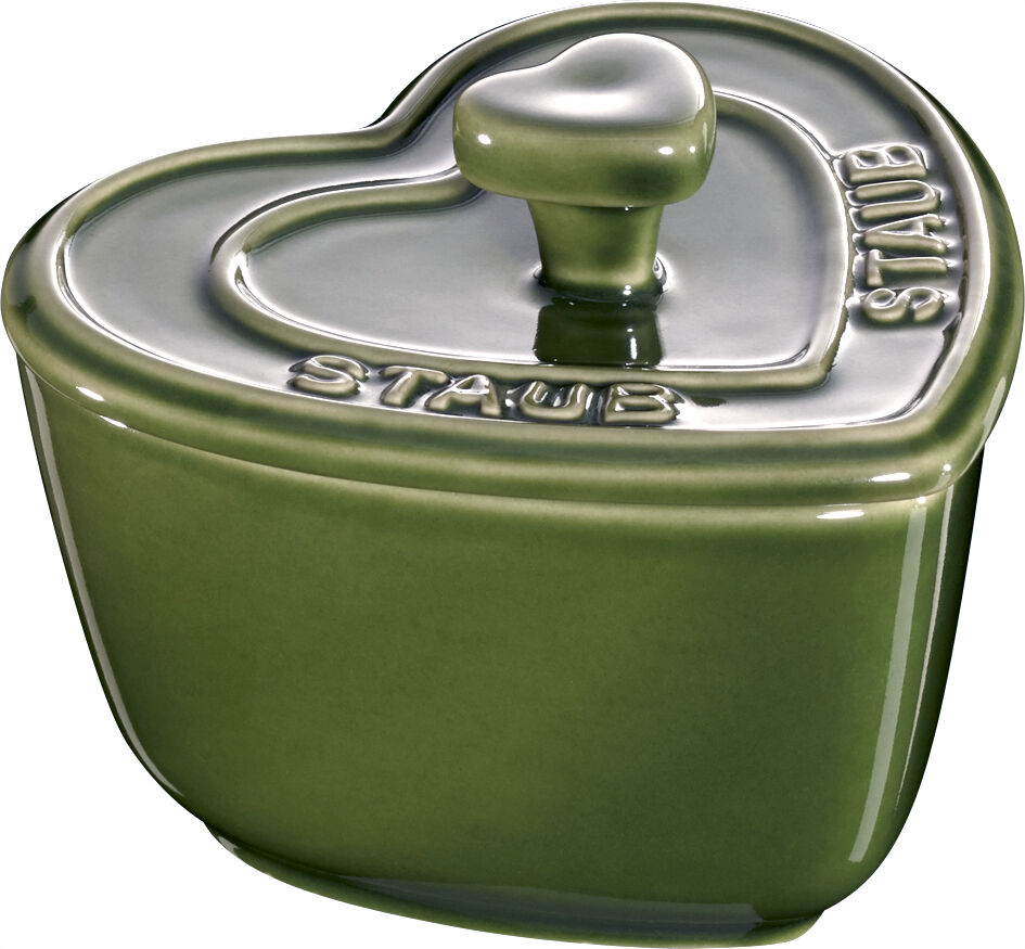 Staub Keramik 6er Set XS Mini Cocotte Herz Dessertschale Auflaufform Basilikumgr