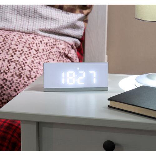 infactory Dimmbare Funk-LED-Tischuhr mit Wecker und Temperaturanzeige weiß