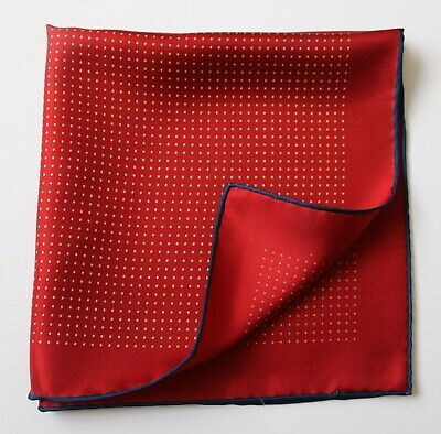 Men's Tie /& Handkerchief Set Plum Red with White Pin Spot LUC289