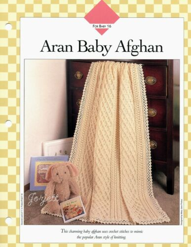 Aran Baby Afghan beautifully elegant crochet pattern leaflet