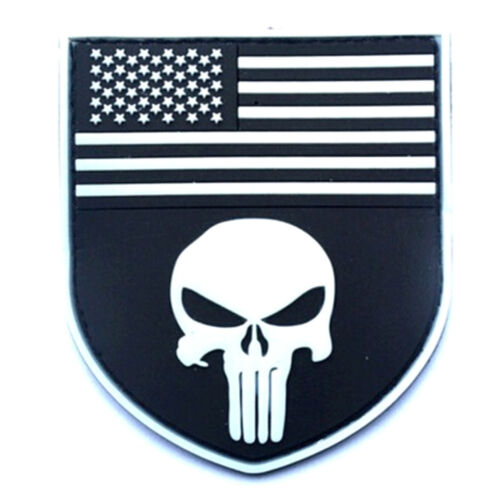 PUNISHER USA FLAG SHIELD MORALE TACTICAL ISAF U.S NAVY SEALS PVC PATCH