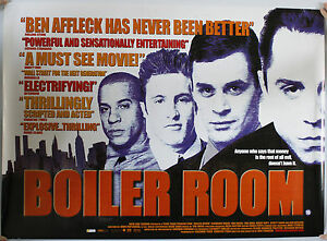 BOILER ROOM UK QUAD FILM POSTER - Barnsley, United Kingdom - BOILER ROOM UK QUAD FILM POSTER - Barnsley, United Kingdom