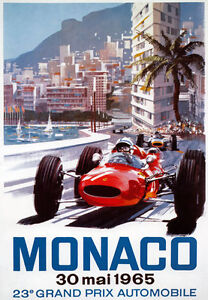 AV92-Vintage-1965-23rd-Monaco-Grand-Prix-Motor-Racing-Poster-Art-Re-print-A4