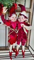 Set 2 17 Raz Santa Elf Elves Poseable Figurine Christmas Shelf Sitter Orn