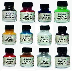 MANUSCRIPT-DIP-PEN-ACRYLIC-INK-30ml-BOTTLE-12-COLOURS-ARTISTS-CALLIGRAPHY