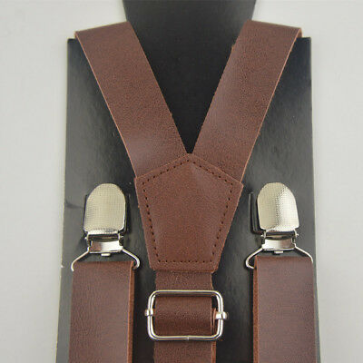 Men/'s Suspenders High Quality Clips-On Pants Braces Synthetic Leather Suspender