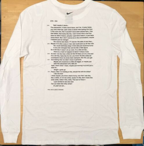 Nike x Off-White Campus White Long Sleeve T-Shirt Size M-XL Ships Immediately