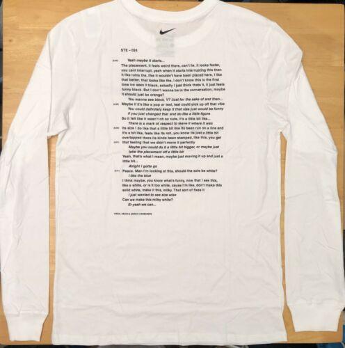 Nike x Off-White Campus White Long Sleeve T-Shirt Size M-XL Ships Immediately