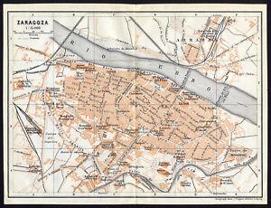 Zaragoza Map Of Spain.Details About Antique Map Spain Plan Of Zaragoza Karl Baedeker 1913