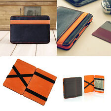Magic Wallet Money Clip Card ID Slim Light Flip BiFold Leather - Black & Orange