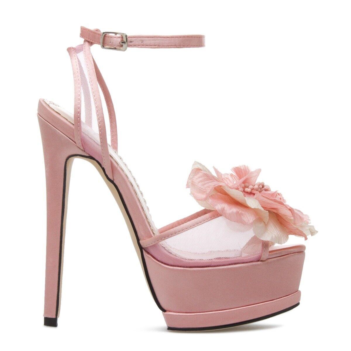 NEW Satin Platform Sandale Heel by Madison w/ Floral Accent Größe 7.5 Pink