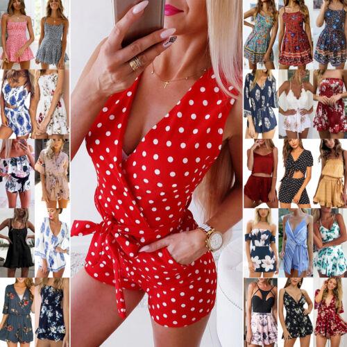 Talla S-XL Mono corto para mujer Vacaciones De Verano Pantalones Cortos De Playa Mameluco señoras Mono