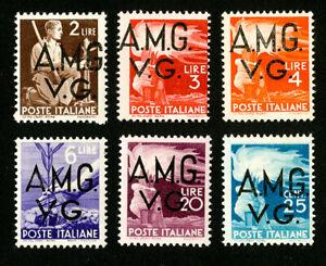 ITALIE-TIMBRES-N-1L14-19-tres-fine-ORIGINAL-GUM-legerement-charniere-AMG-Set-de-6-Scott-valeur-60-00