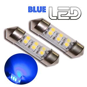 2-Ampoules-navette-C5W-36-mm-36mm-6-LED-SMD-Eclairage-Bleu-Habitacle-plafonnier