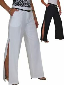 Ladies-Side-Split-Wide-Leg-Trousers-Evening-Party