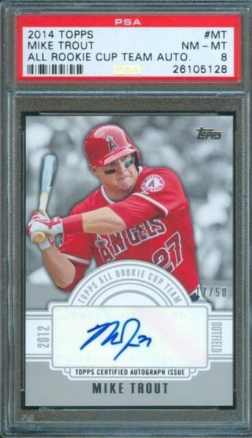 2014 Topps All Rookie Cup Team MIKE TROUT #17/50 AUTO Angels PSA 8