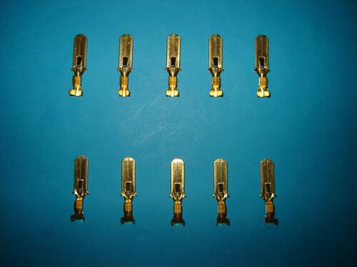 """1//4/"""" 6.35mm 6.35 Latching Lucar Lucars Male Blade Spade Terminals x 10 Ten"""