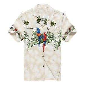 Made-in-Hawaii-Men-Hawaiian-Aloha-Shirt-Luau-Cruise-Party-Parrots-Palm-White