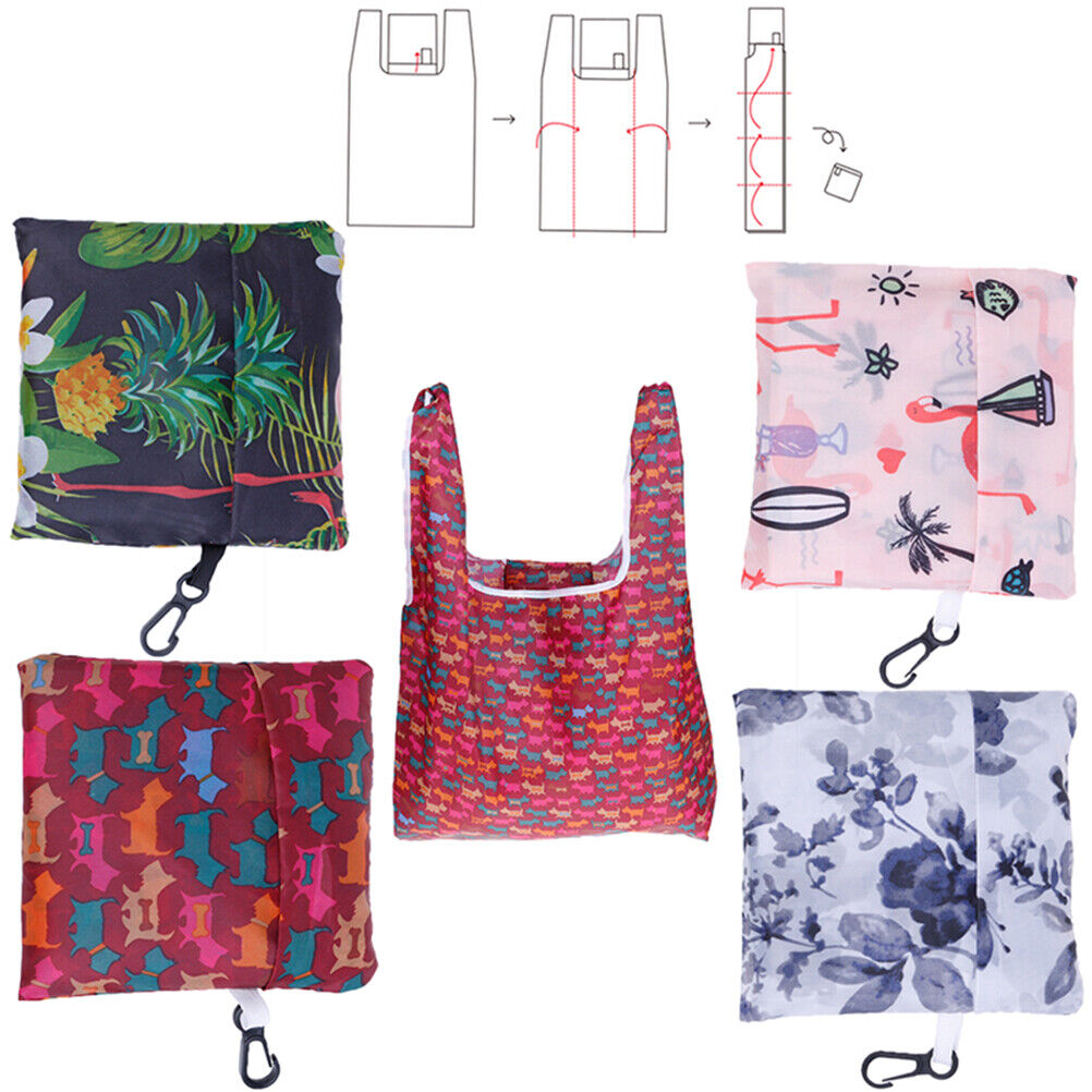 1X Foldable Eco Shopping Bag Tote Pouch Portable Reusable Grocery Storage B^dm
