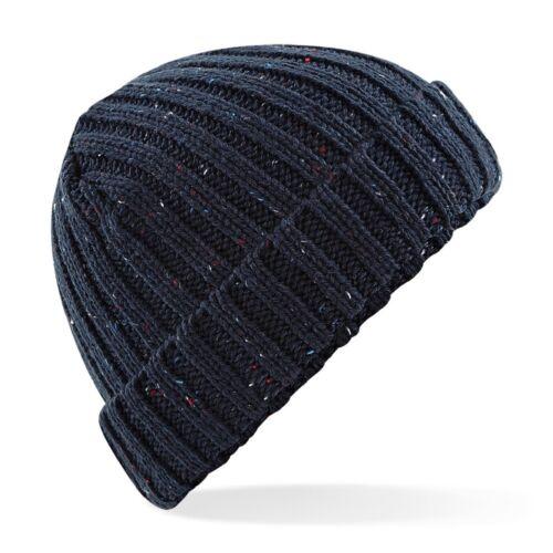 BURGUNDY BEIGE FAWN NAVY BLACK MAROON Unisex Rustic Fleck Beanie Ski Hat