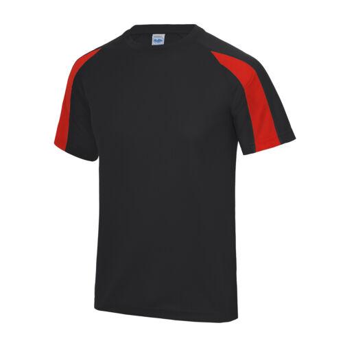 AWDis Just Cool contrasto Cool T-Shirt-Uomo Sport di squadra//Poliestere Football Tee