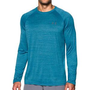 Under-Armour-Tech-a-motifs-pour-homme-a-manches-longues-Exercice-Fitness-T-Shirt-Tee-Bleu