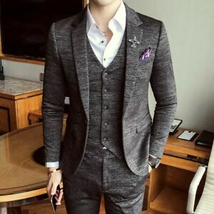 Formal-Men-039-s-Suits-Slim-Fit-British-Style-Smart-Casual-Party-Event-Clothing-Wear
