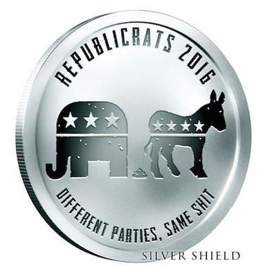1 oz Silver Shield Proof Republicrats 2016 COA .999 Republican Democrat Satire