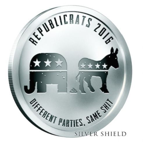 1 oz Silver Shield Proof Republicrats 2016 COA .999 Republican Democrat Satire