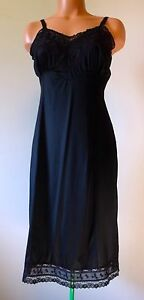 Adonna-Women-039-s-Full-Slip-Vintage-Black-Nylon-Floral-Lace-Bust-Inset-Pin-Up-34-034