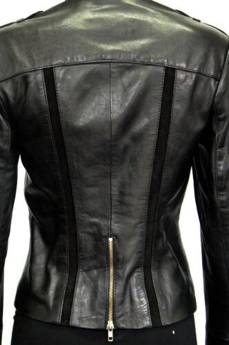 Leeds Black Ladies Woman Retro Style Chic Designer Real Sheep Leather Jacket
