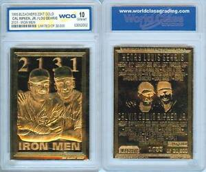 Cal-RIPKEN-amp-Lou-GEHRIG-1995-Iron-Men-23KT-Gold-Card-Graded-GEM-MINT-10-BOGO
