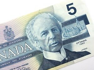 1986-Canada-5-Dollar-Circulated-FNX-Replacement-Thiessen-Crow-Banknote-Five-R332