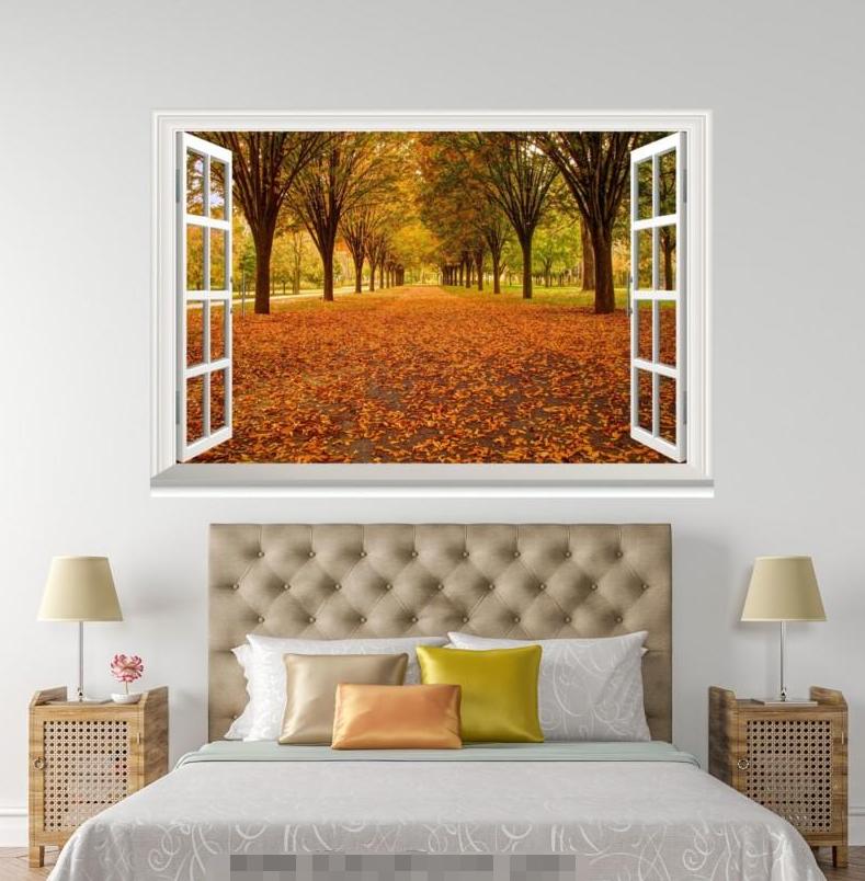 3D Deciduous Road 407 Open Windows Mural Wall Print Decal Deco AJ Wallpaper Ivy