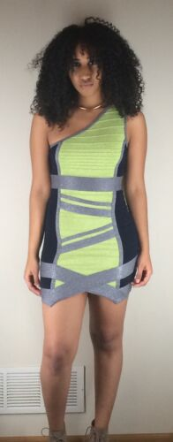 Wow Couture Lime /& Navy Caged One Shouldered Bandage Dress S M NEW MSRP $68