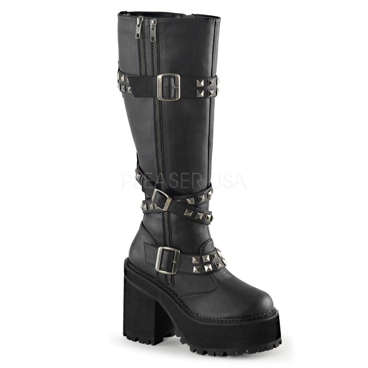 DEMONIA ASST203 BVL Women's Platform Studs Gothic Punk Combat Knee High Boots