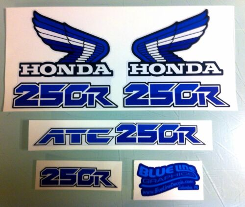 Custom Honda ATC250R 1986 Decals White and Blue 250R ATC
