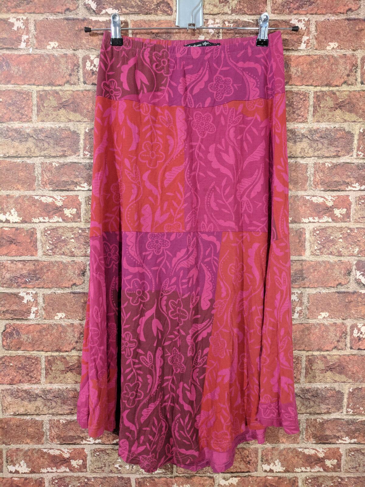 Gudrun Sjoden S Skirt Viscose Patchwork Floral Red Pink Elastic Waist